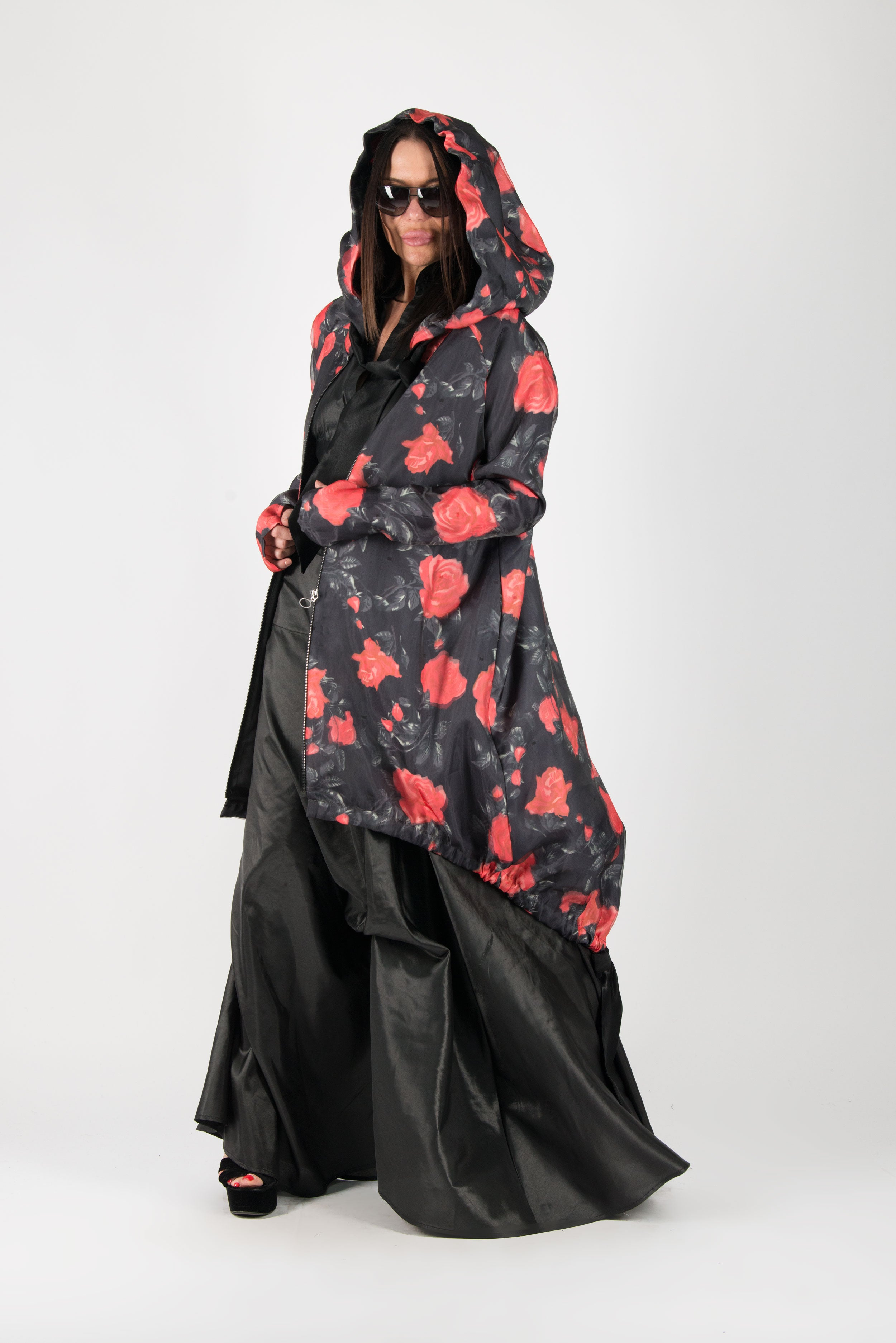 Long Zipper Hooded Vest, Black Elegant Raincoat, New Arrival
