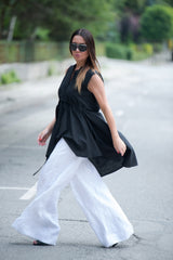 Linen White Wide Pants for Summer, Linen Clothing