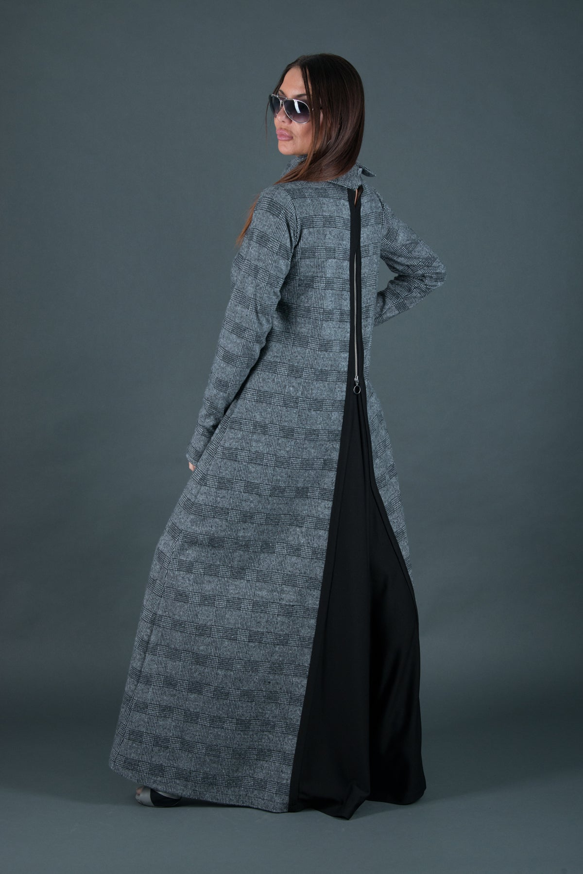 Autumn Winter Grey Plaid Long Dress, Dresses & Maxi Dresses