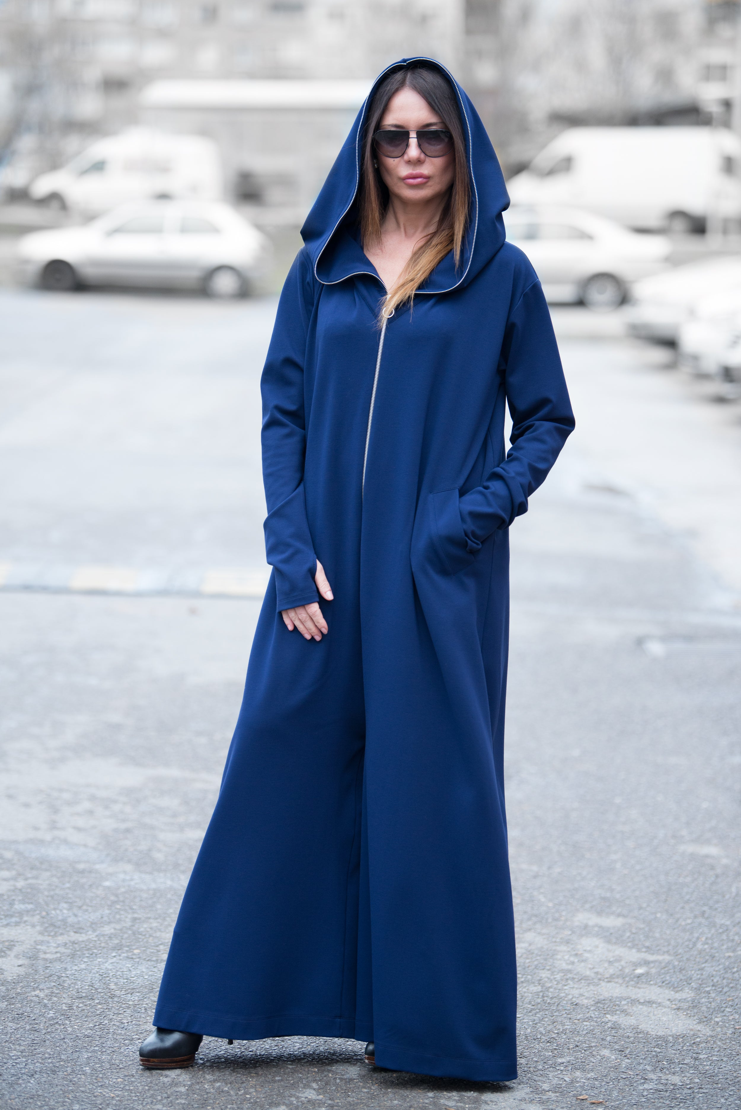 Navy Blue Cotton Hooded Jumpsuit