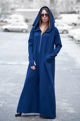 Navy Blue Cotton Hooded Jumpsuit, Jumpsuits & Rompers