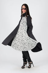 Black and White Woman Neoprene Blazer Coat, Coats