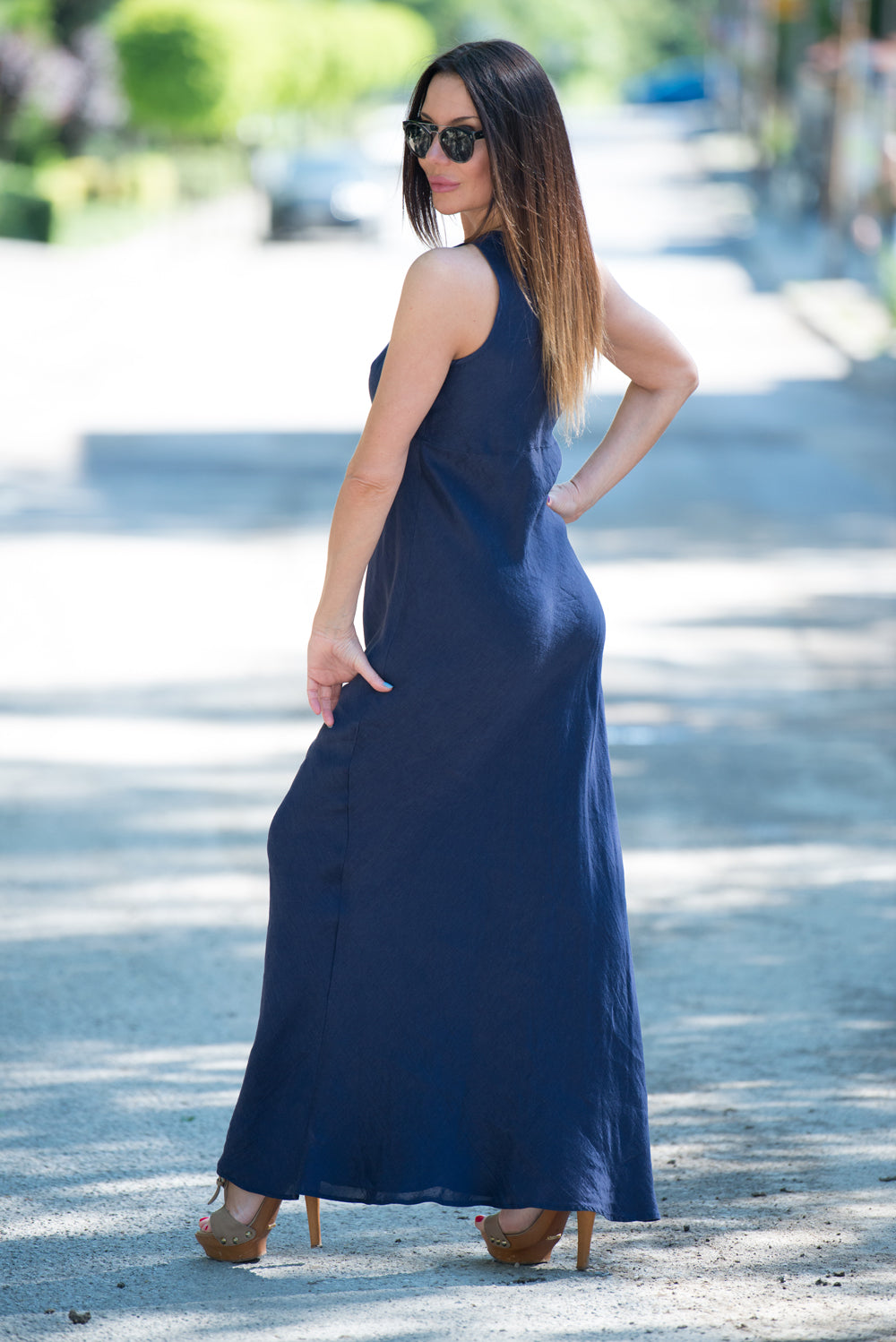 Dark Blue Linen Dress, Long Linen Dress, Linen Sleeveless Dress