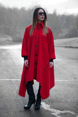 Red Cashmere Women Loose Autumn Winter Coat - EUG FASHION