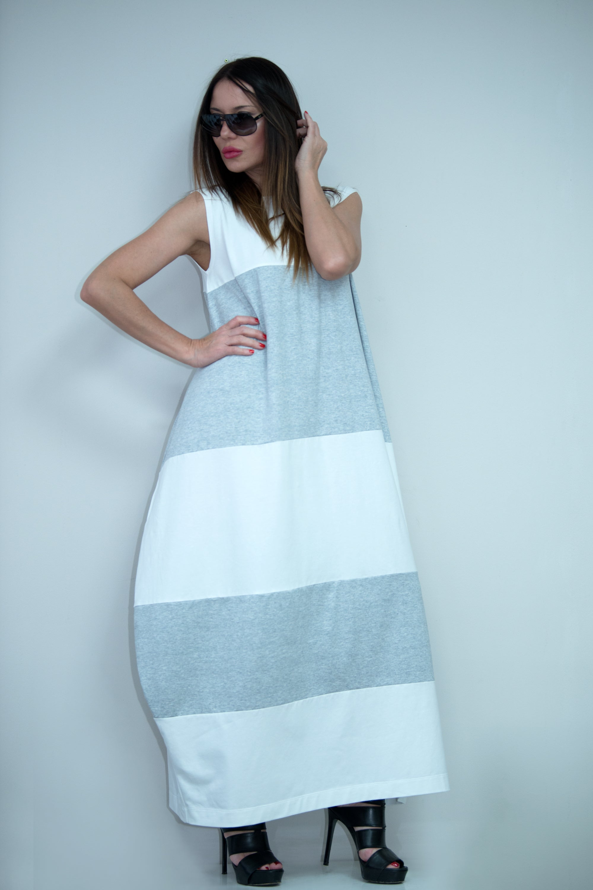 White and Light Grey Summer Dress, Dresses Spring & Summer