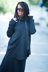 Black Hooded Zipper Sport Jacket, Urban Style Hooded Sweatshirt With Pocket