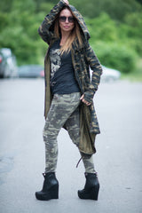Military Hooded Vest, Kaftan, Hoodies, Loose Fit Cardigan, Camouflage Long Vest