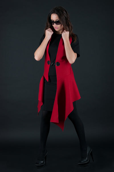 Autumn Winter Red Sleeveless wool Vest, Sleeveless Cashmere Vest
