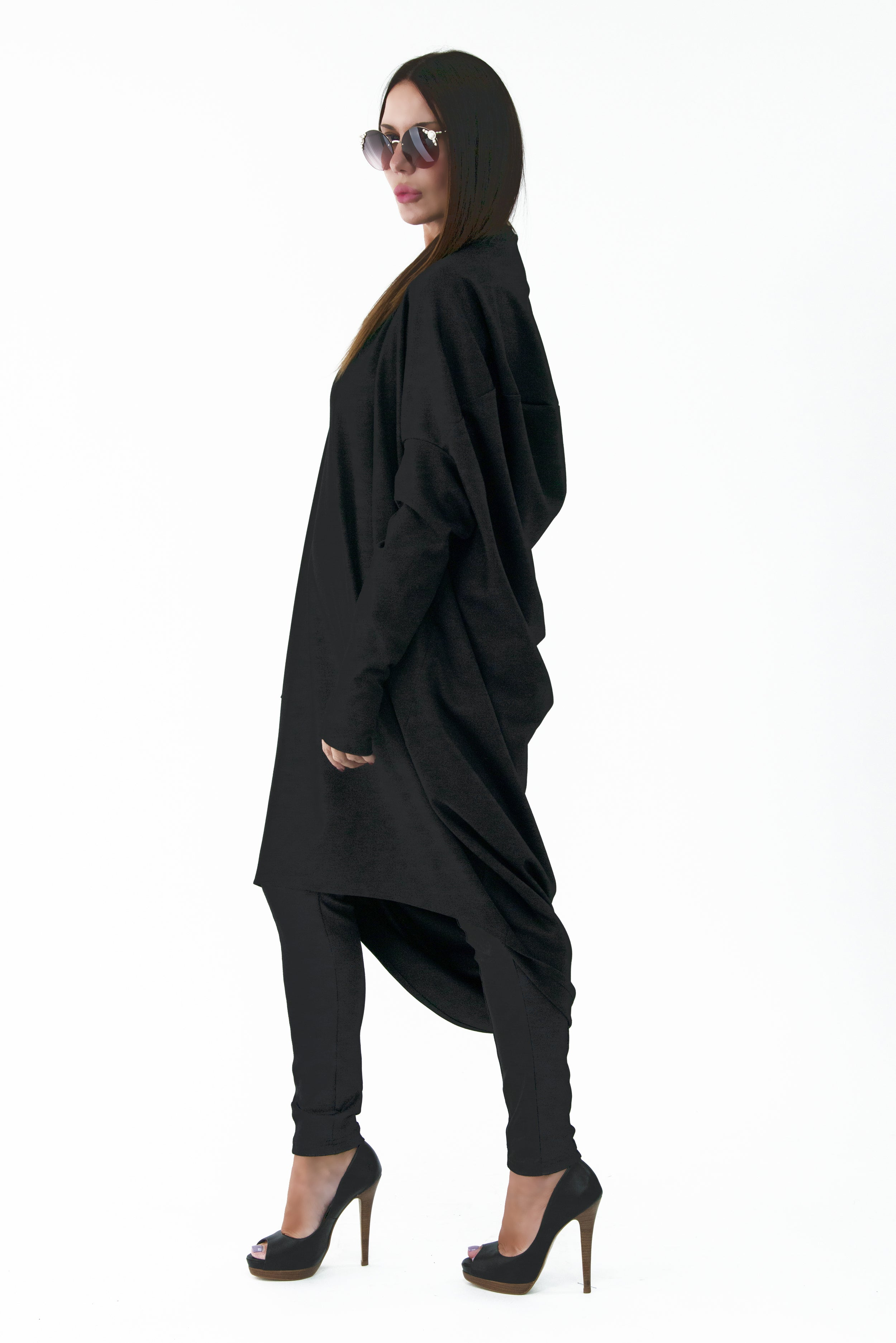 African Woman Black Long Winter Tunic, New Arrival