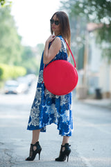 Red Bag, Tote Circle Bag, Genuine Leather Shoulder Tote, Bags & Accessories