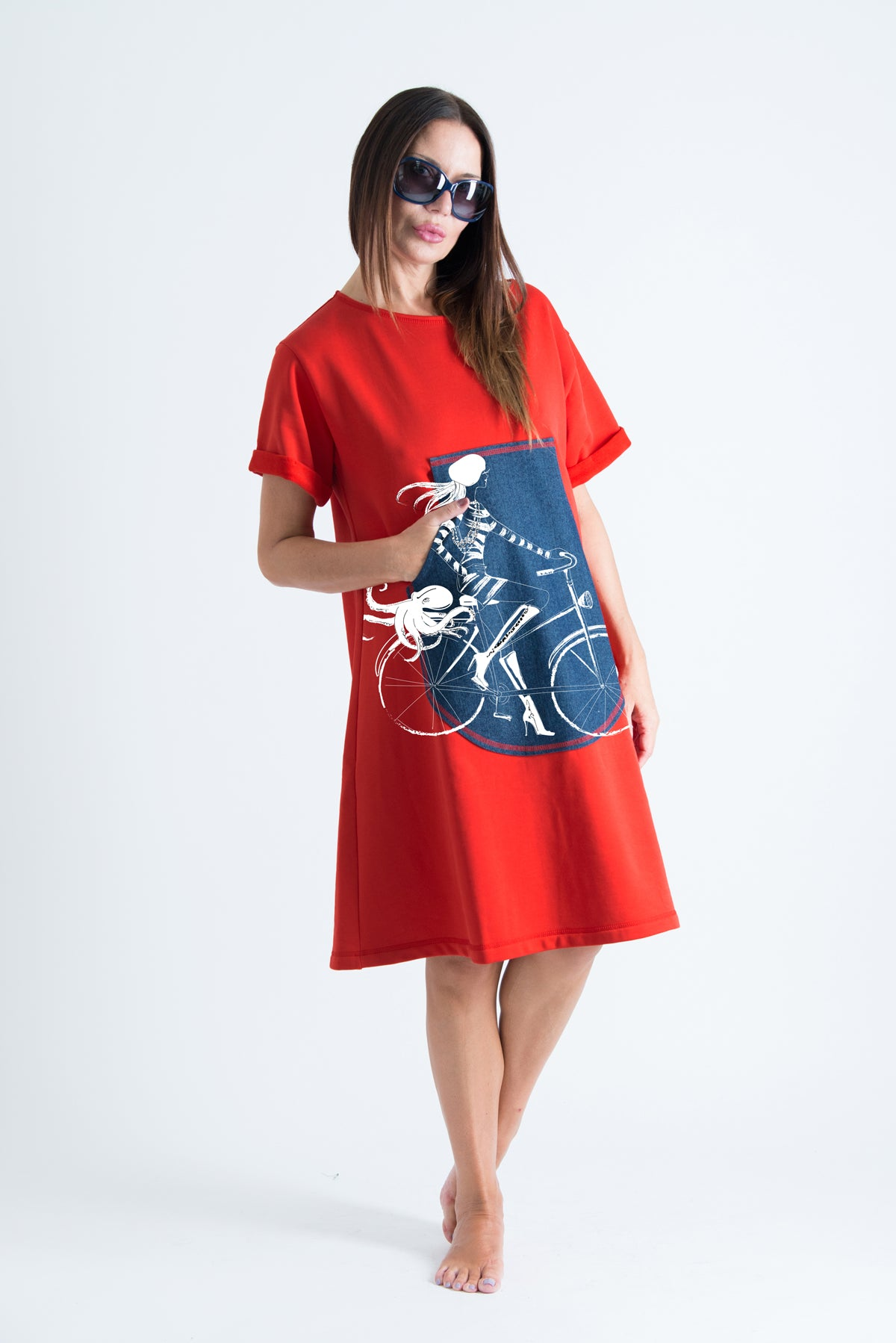 Red Midi Cotton Dress with Print, Dresses Spring & Summer