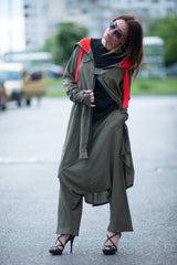 Military Green Hooded Elegant Cotton Cardigan Vest