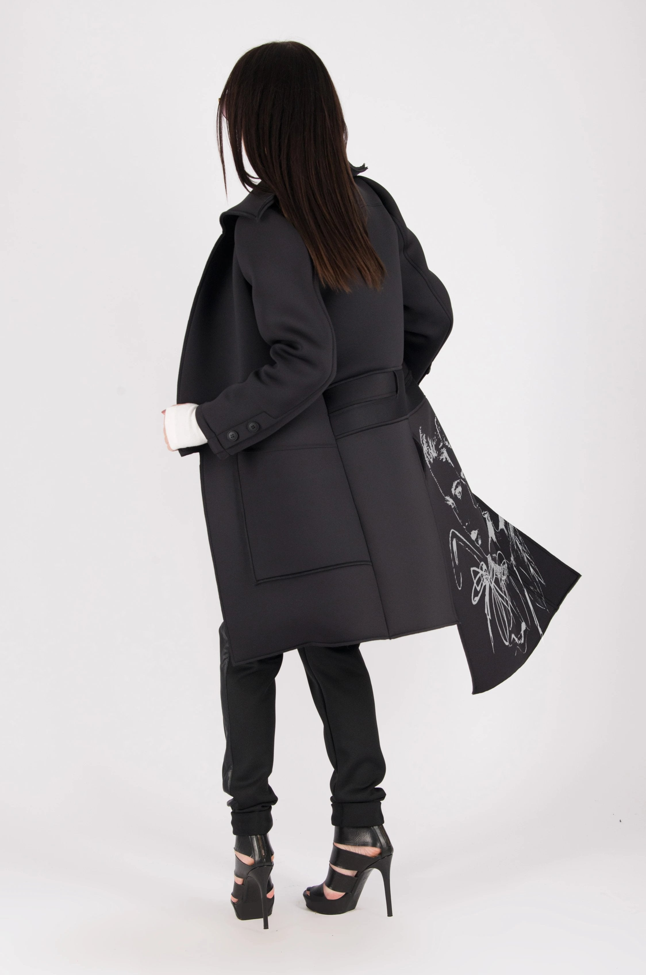 Black Neoprene Long Sleeves Coat, Coats