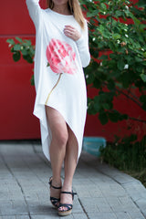 White Plus Size Loose Tunic With Printed Rose, Tops & Tunics