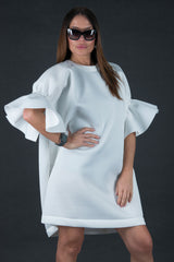 White Winter Neoprene Dress, Dresses & Maxi Dresses