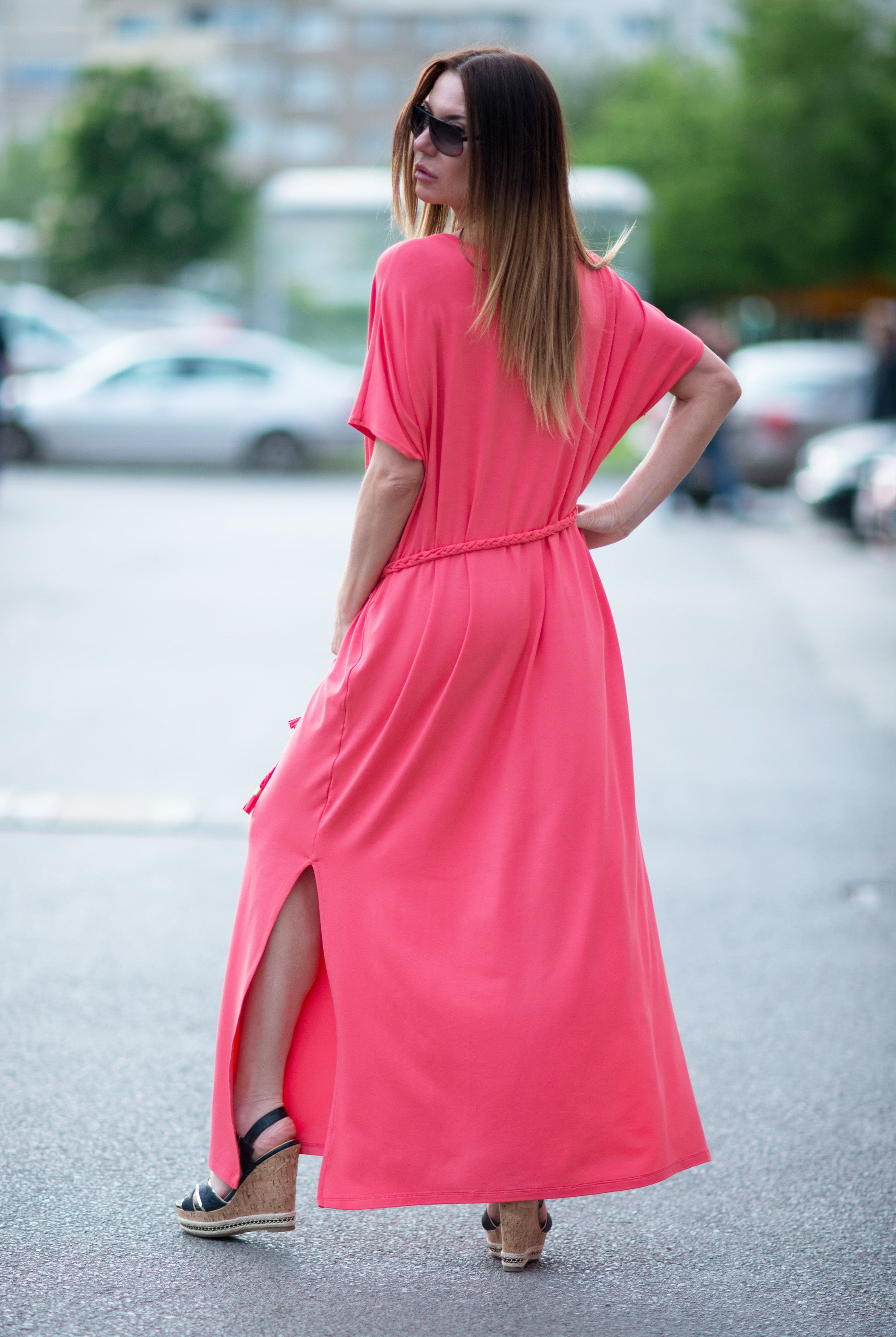 Coral Woman Dress, Kaftan Dress, Maxi Long Dress