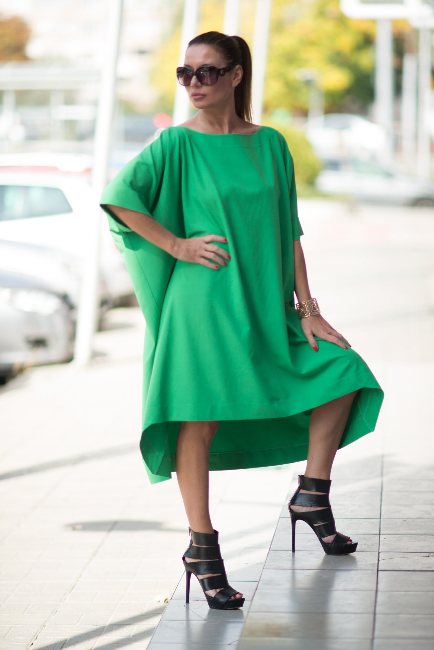 Green Maxi Tunic Dress, Tops & Tunics