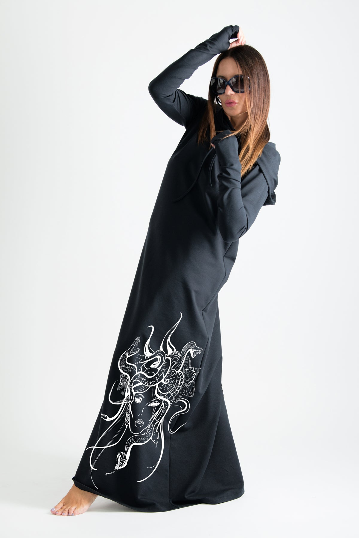 Black Hooded Octopus Printed Dress, Dresses & Maxi Dresses
