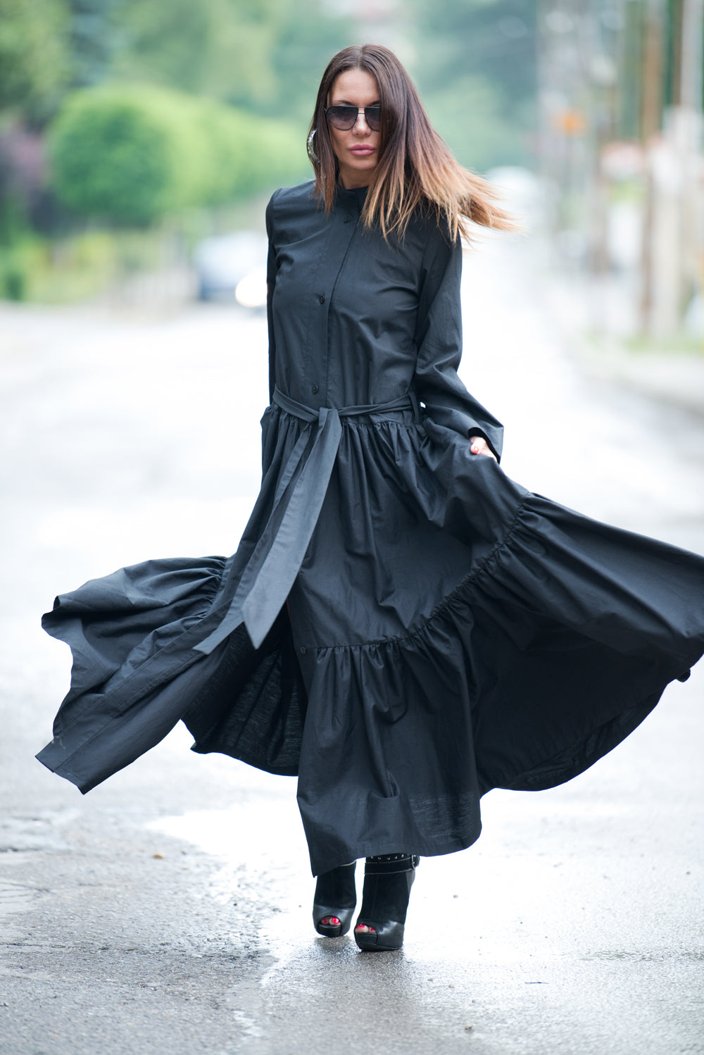 Long Black Cotton Abaya Loose Maxi Dress, Long Summer Elegant Kaftan