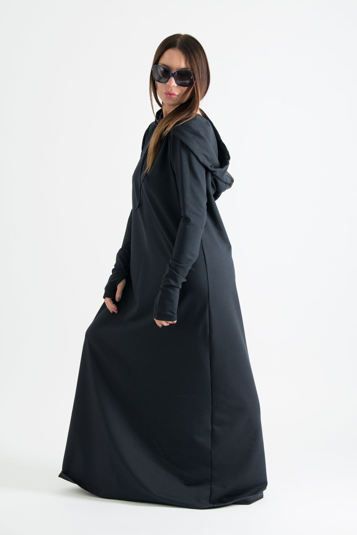 Black Long Hooded Trendy Dress, Dresses & Maxi Dresses