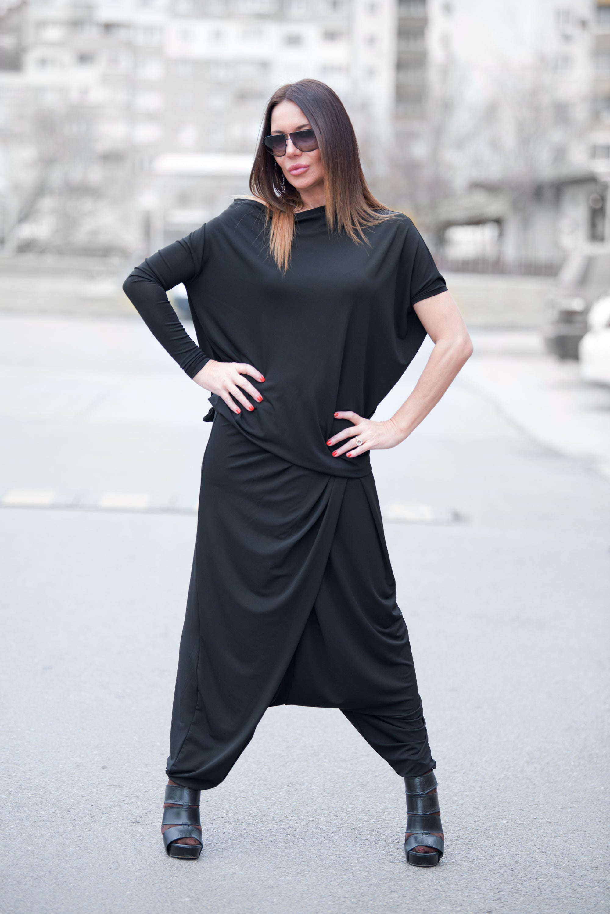 Black Woman Harem Pants - EUG FASHION