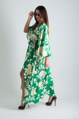 Green Wrap Summer Dress, Boho Dress