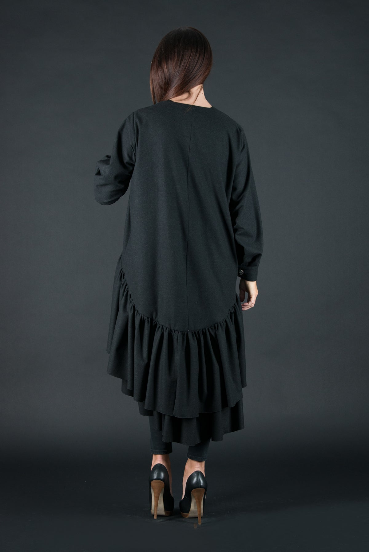 Autumn Winter Dark Grey Cashmere Wool Dress, Dresses & Maxi Dresses