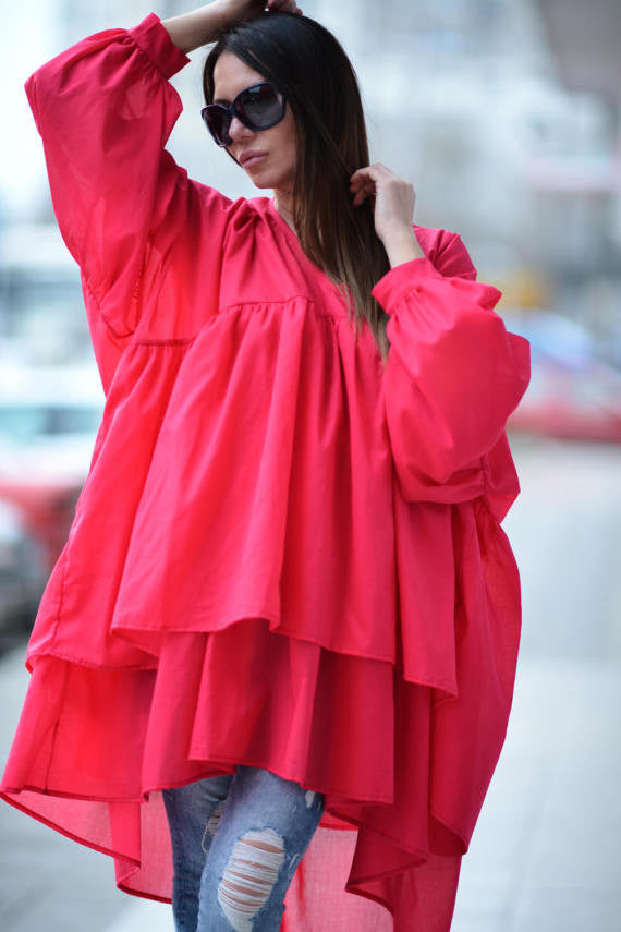 Fuchsia Asymmetric Flounces Top, Women Maxi Fuchsia Tunic Top, Oversize Summer Top