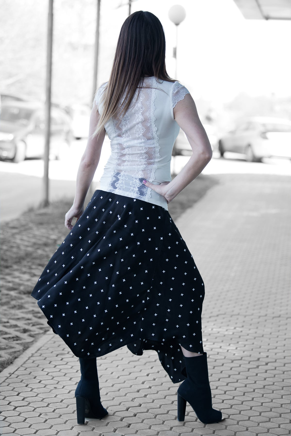 Black Cotton Viscous Summer Elegant Skirt, Skirts