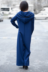 Navy Blue Cotton Hooded Jumpsuit, Maxi Cotton Union Suit, Drop Crotch Harem Jumpsuit