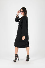 Elegant Black Georgette Dress - EUG FASHION