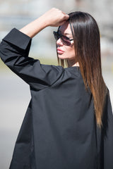 Black Cotton Loose Shirt, Summer Top, Cotton Top, Black Shirt wide sleeves