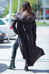 Long Brown Hooded Loose Fit Women Vest, Hoodies & Sweaters