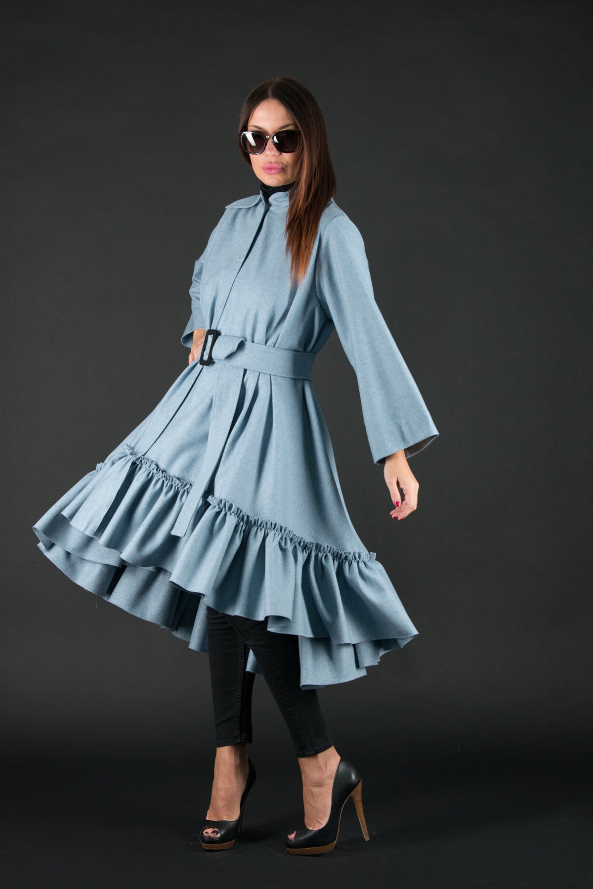Autumn Winter Blue Cashmere Dress, Dresses & Maxi Dresses