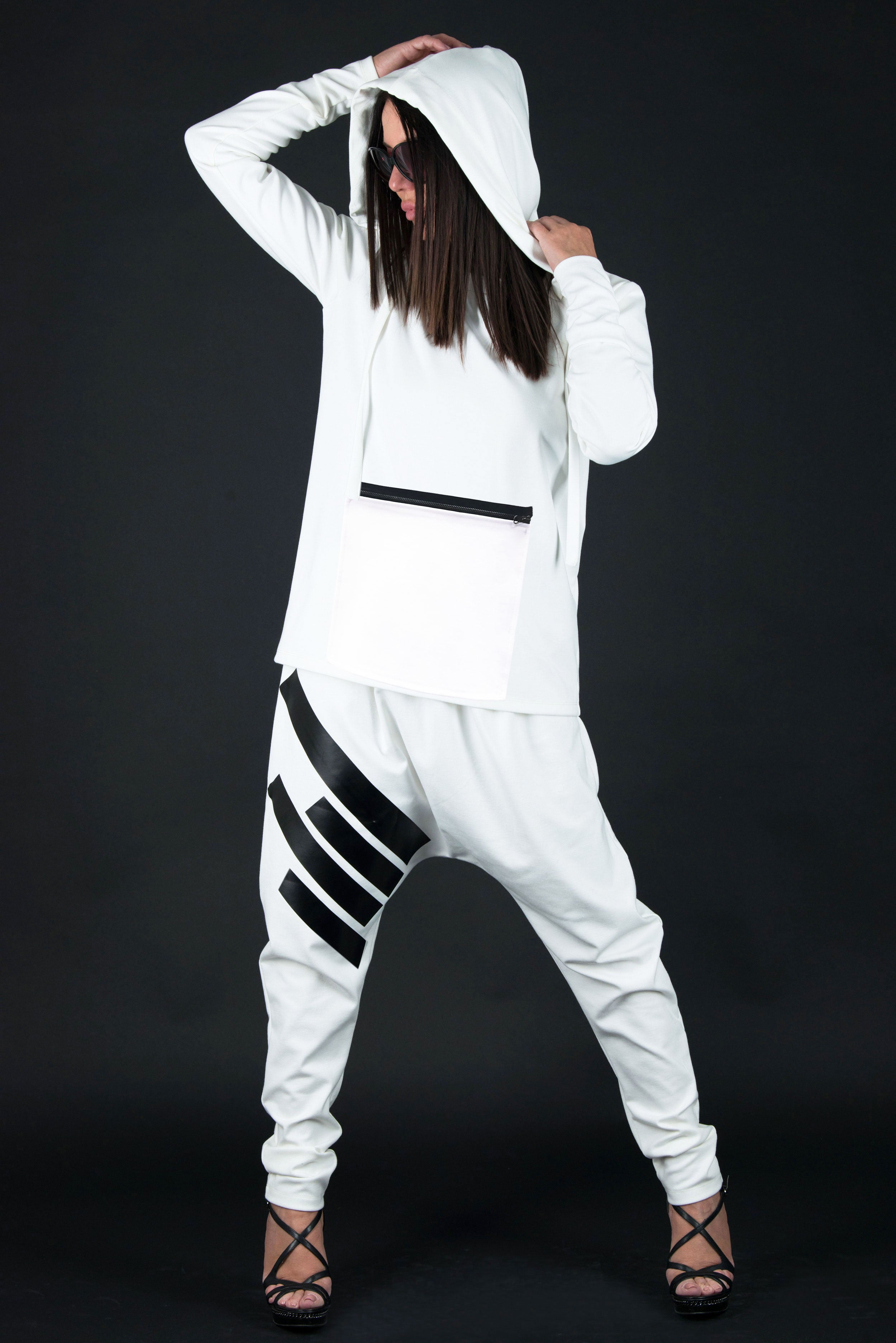 White outfit, Hoodie for Woman with pants - EUG FASHION