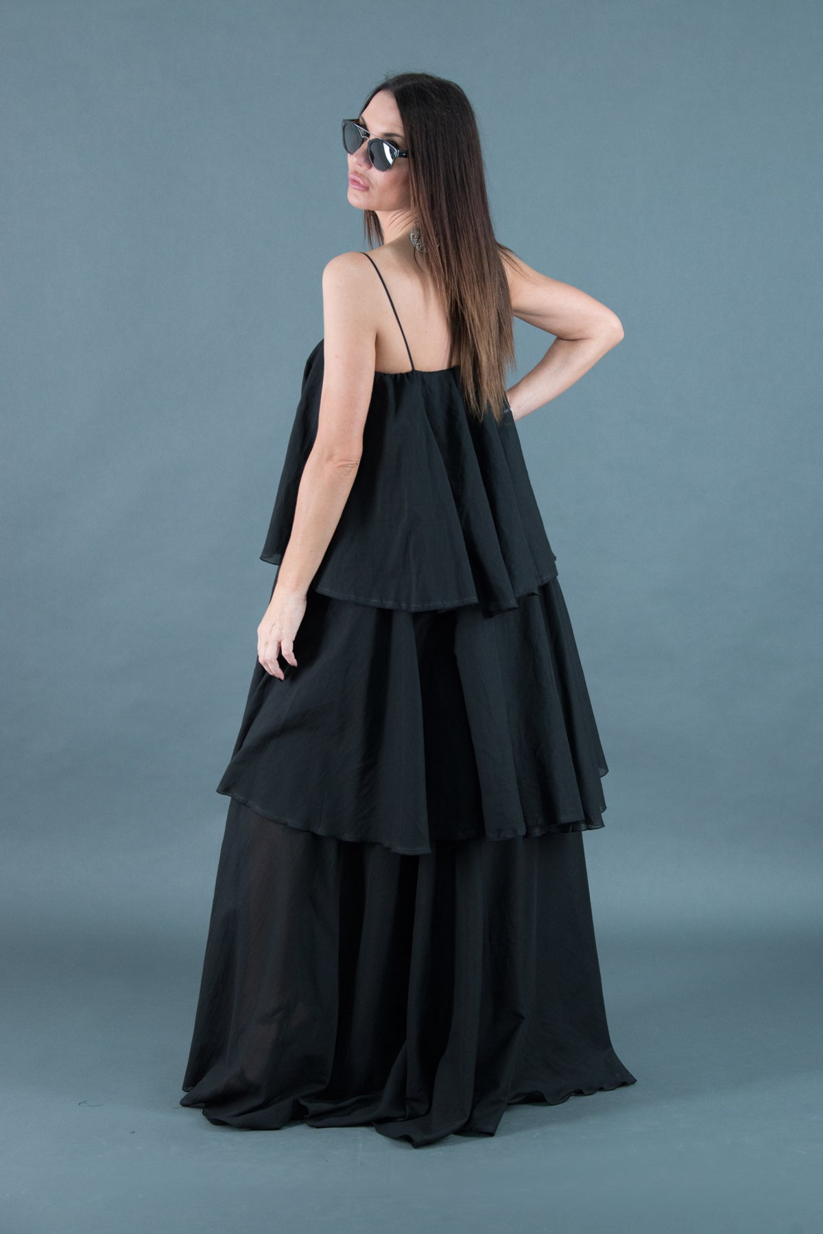 Black Cotton Maxi Dress, Summer Flounces Dress, Cotton Dress