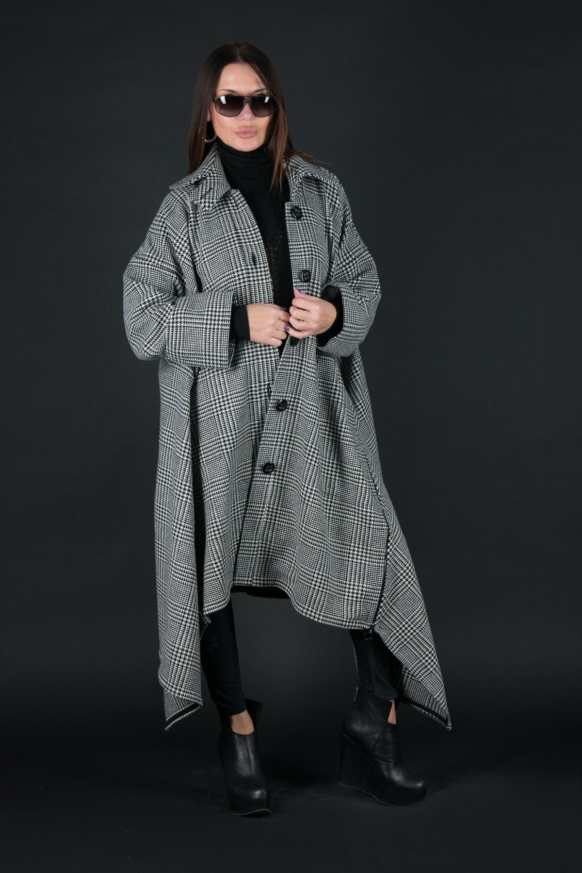 Plaid Cashmere Women Coat, Asymmetrical Coat, Coats