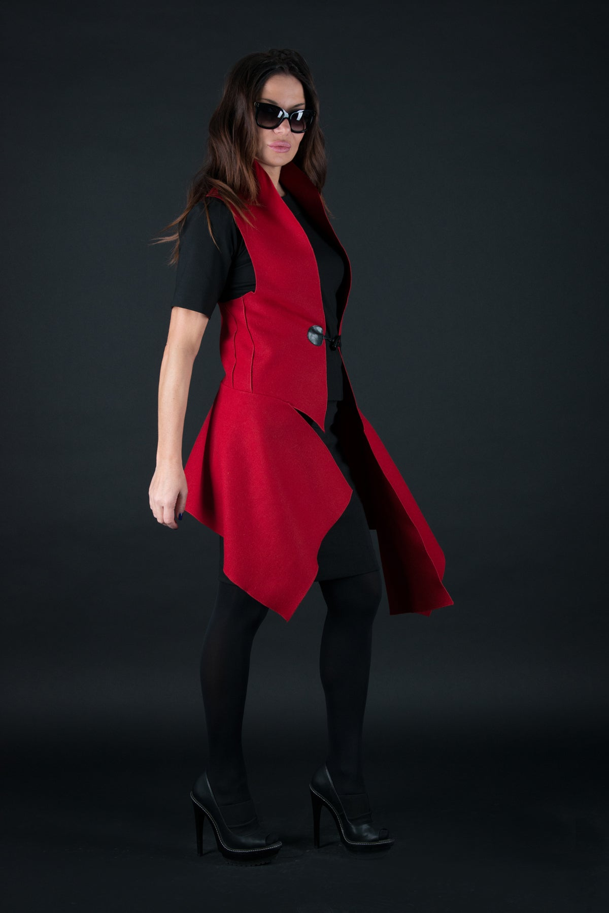 Autumn Winter Red Sleeveless Wool Vest, Cardigans & Vests