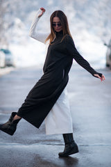 Black and white Turtleneck Winter Jumpsuit - EUG FASHION