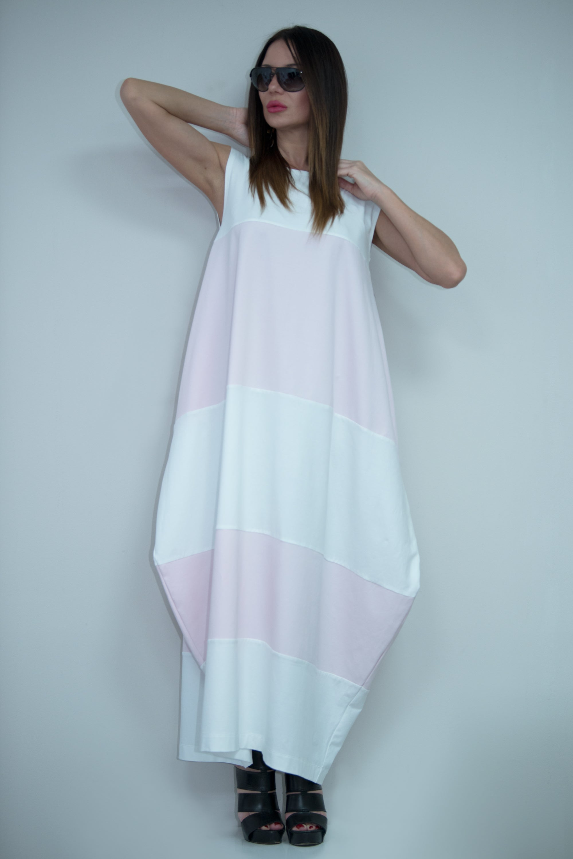 White and Baby Pink Summer Dress, Dresses Spring & Summer