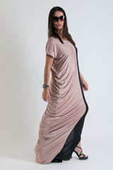 Oversize Jersey Black Beige Long Dress, Dresses Spring & Summer
