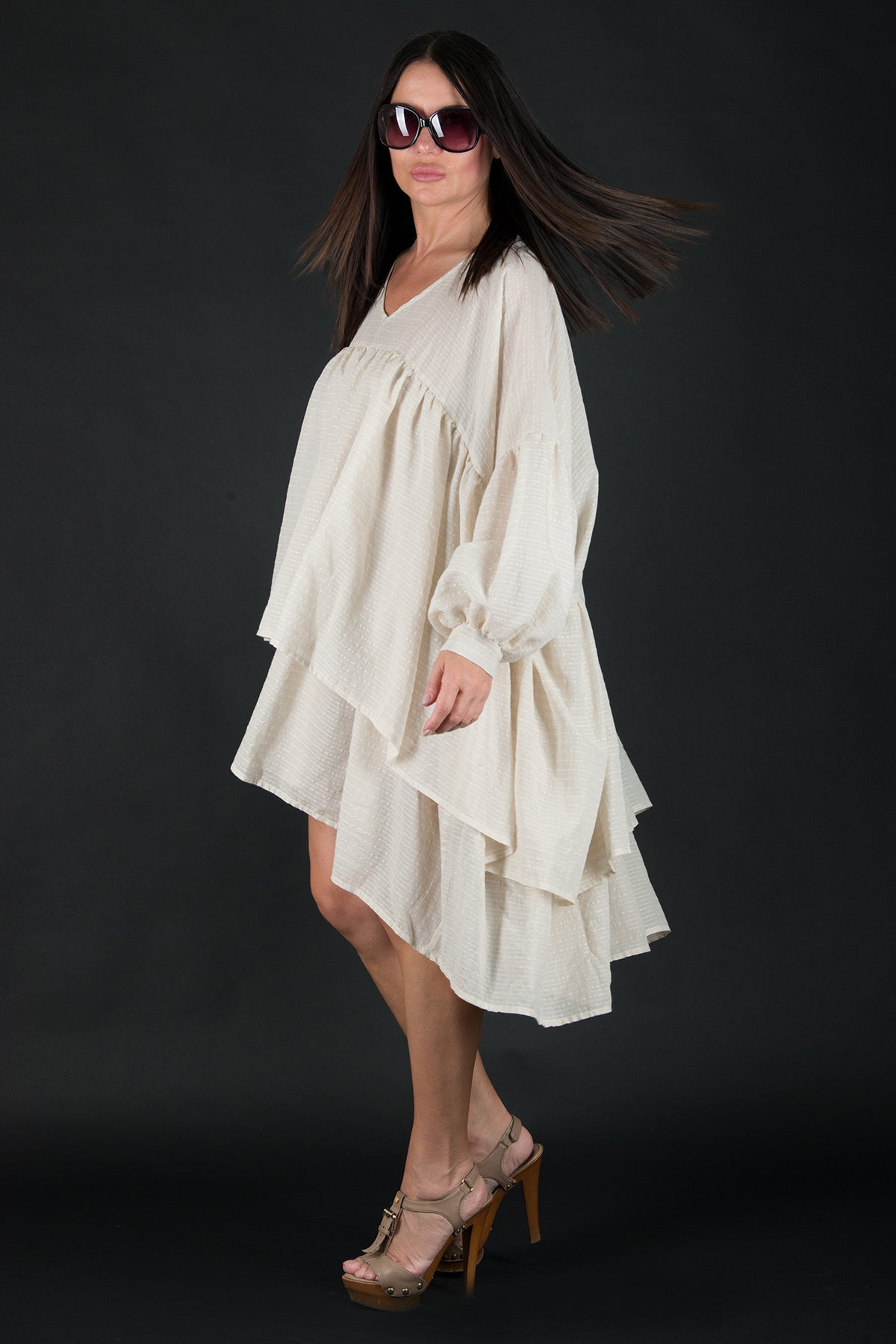Beige Asymmetric Flounces Top, New Arrival