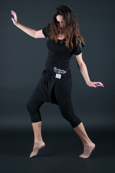 Black Loose Cotton Harem Pants, Drop Crotch Pants, Sport Trousers