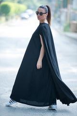 Black Loose Linen Dress, Linen Clothing