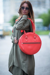 Orange Tote bag, Genuine Leather woman Bag