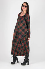 Red Plaid Spring Dress long Sleeve, Dresses & Maxi Dresses