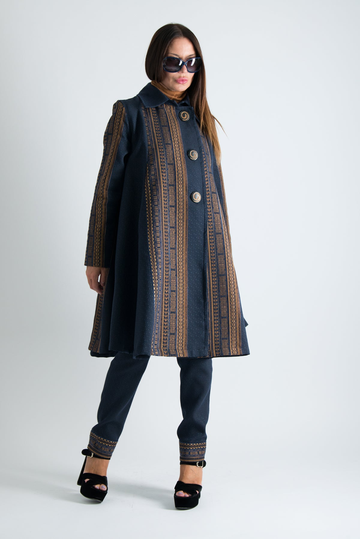 Autumn Jacquard Elegant Coat, Trench Woman Coat