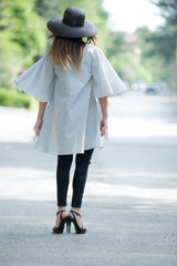 Grey Asymmetric Stripe Shirt, Cotton Tunic, Summer Oversize Loose Shirt