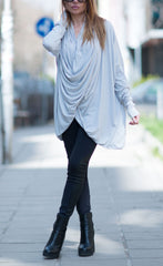 Maxi Dress, Grey Plus Size Asymmetrical Top, Extra Long Sleeves Blouse, Loose Cotton Tunic Top
