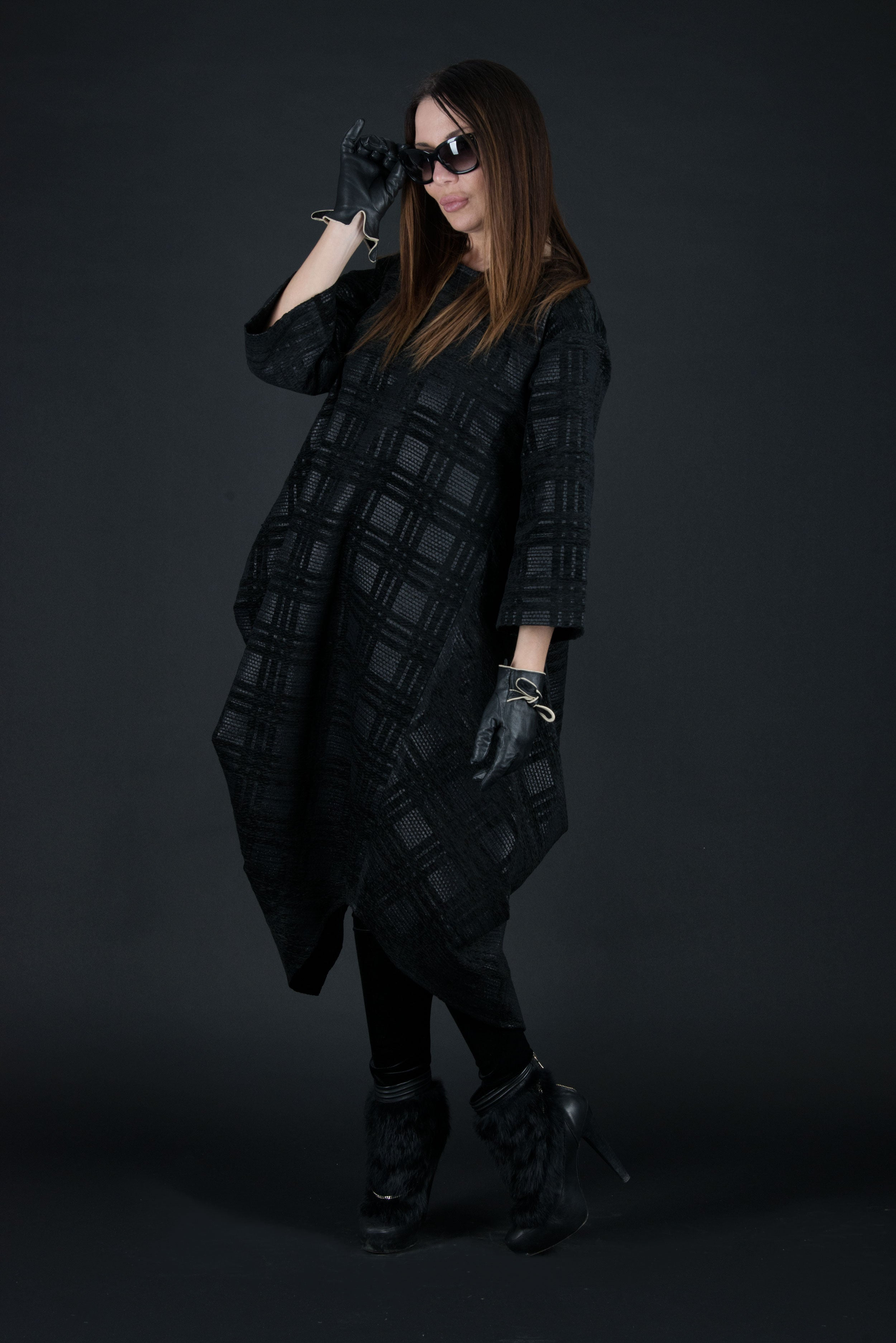 Black Autumn Winter Maxi Dress, Wool Dress